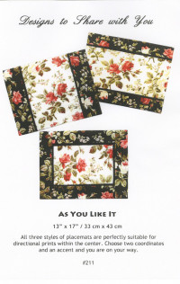 As You Like It Placemat Pattern - Product Image