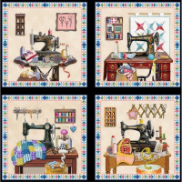 Old Fashioned Sewing Machines Panel - Product Image