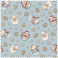 Cocoa Cookies Flannel Blue Snowman Allover - Product Image