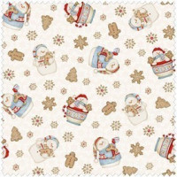 Cocoa Cookies Flannel - White Snowman Allover - Product Image